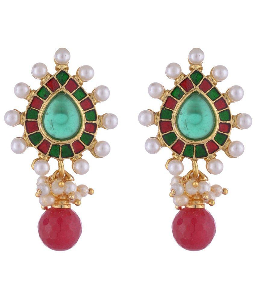 The Jewelbox Red Green Stone Pearl Pear Drop Meena Earring