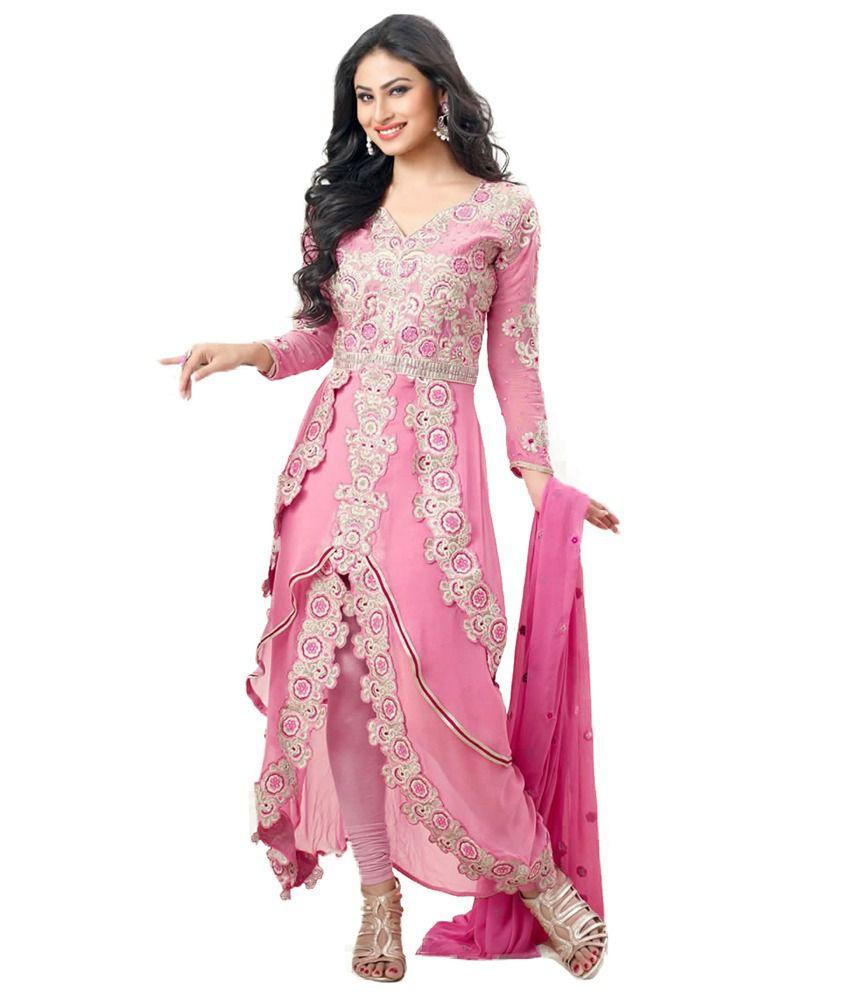 Crazevilla Pink Color Pure Georgette Designer Anarkali Suit