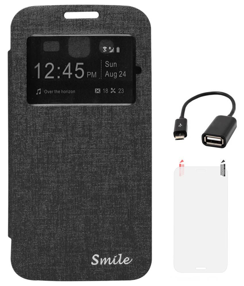 DMG Smile NBR Flip Cover For Samsung Galaxy Grand 2 G7106 (Black) With Matte Screen And USB OTG Cable