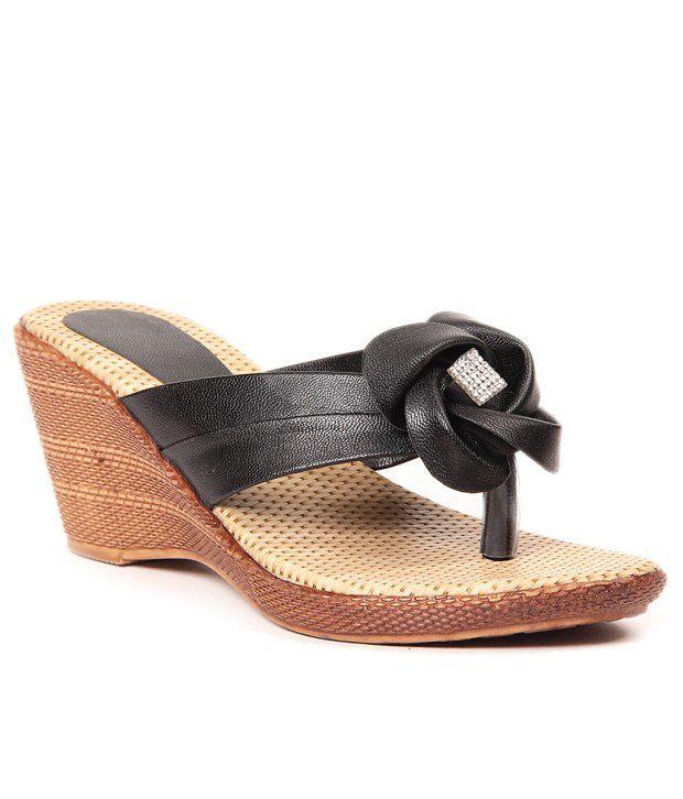 Lovely Chick Black Wedges Heeled Slip-On