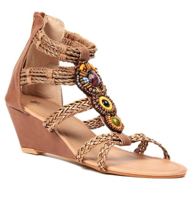 Lovely Chick Brown Wedges Sandals