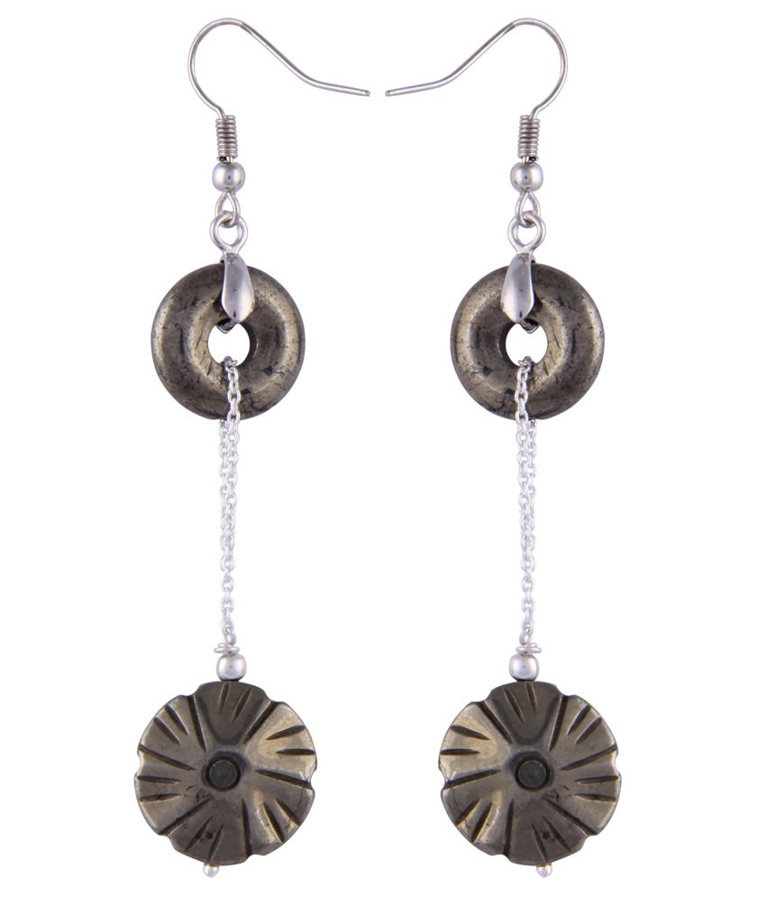 Pearlz Ocean Nova 2.5 Inch Pyrite Beads Dangle Earrings