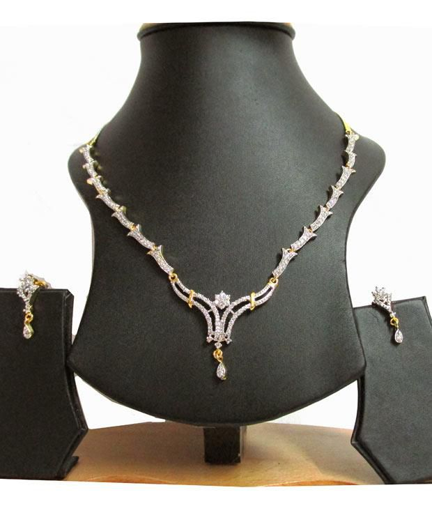 Mable Diamond Setting Gold Plated Ad Set With Earrings