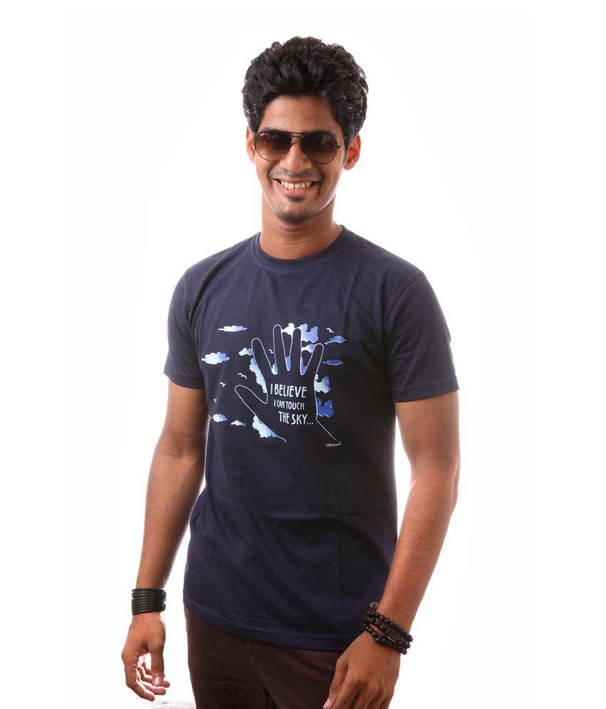 Offbeat Navy Cotton T-Shirt