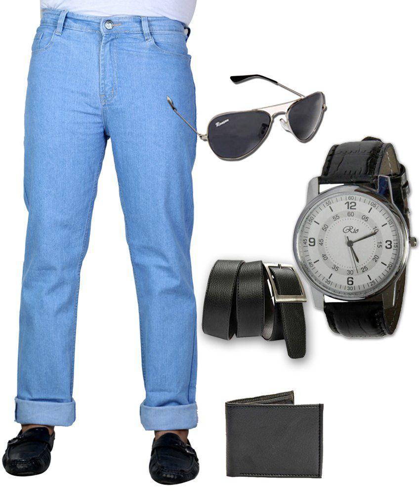 Sam & Jazz Blue Men's Jeans with Belt-Purse-Watch & Sunglass