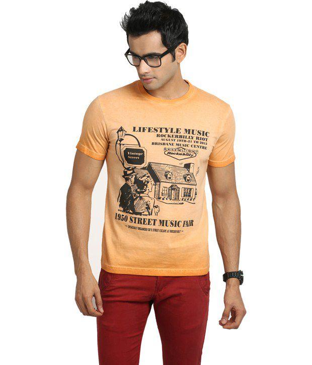 Blumerq Orange Cotton  T-Shirt