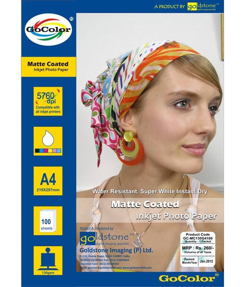 GoColor Inkjet Matte Coated Photo Paper 130 GSM 100 sheet A4 Size