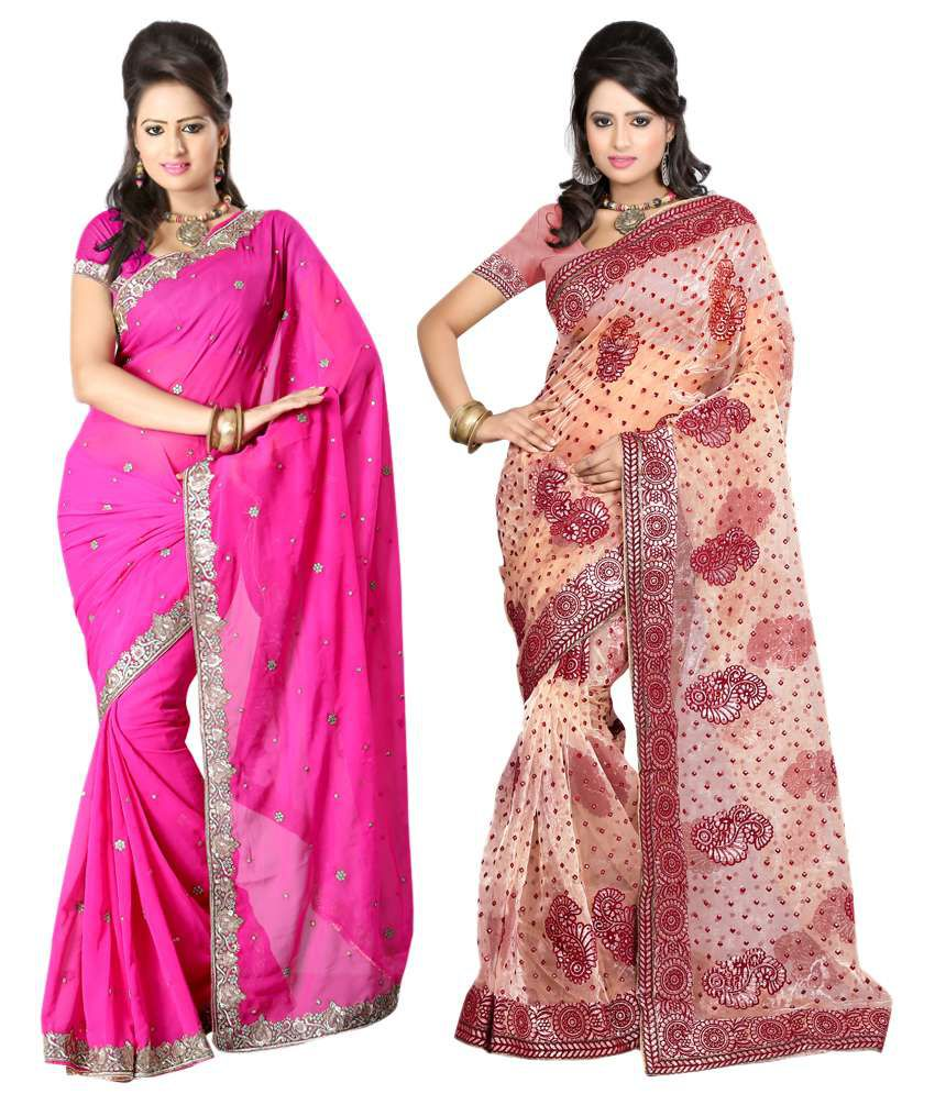 Sanju Sarees Lovely Multi Colour Pack Of 2 Faux Georgette Sarees