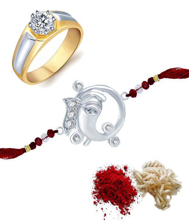 Sukkhi Sparkling Combo of Men's Ring with Rakhi and Roli Chawal
