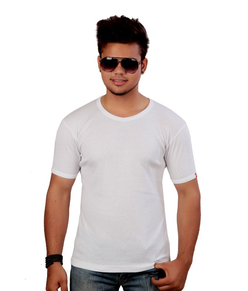 Emerge Plain Crew Neck White T-shirt
