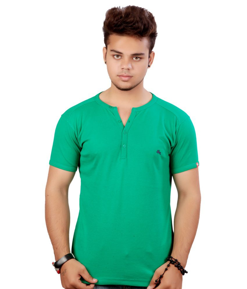 Emerge Plain Green Henley T-shirt