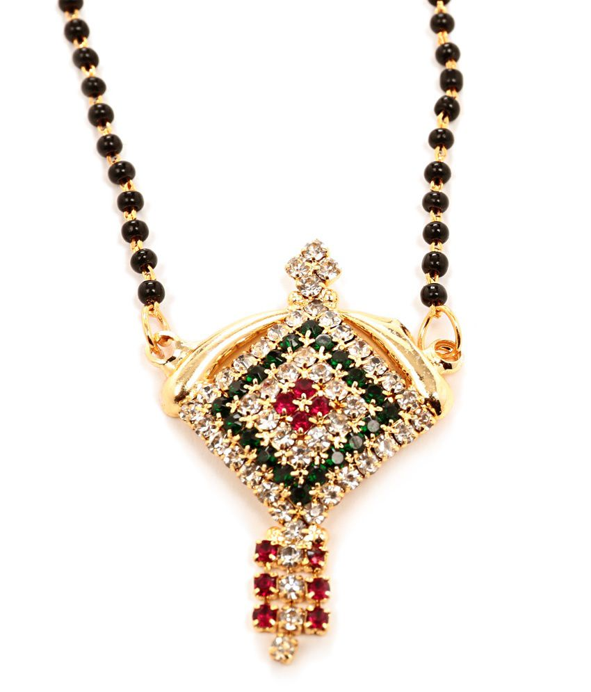 Geometric Shaped Multicoloured Auspicious Mangalsutra with Black Beaded Chain by GoldNera