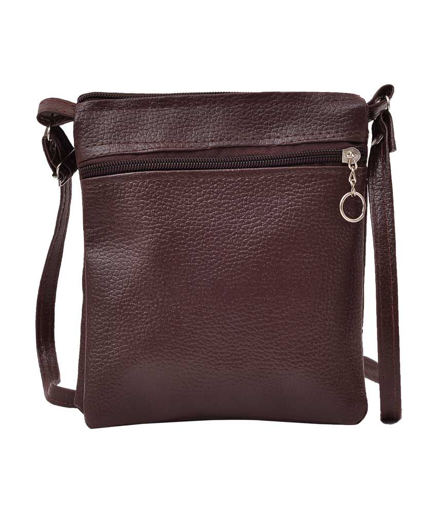 Sling bag leather -  Hawai Brown Faux Leather Sling Bag