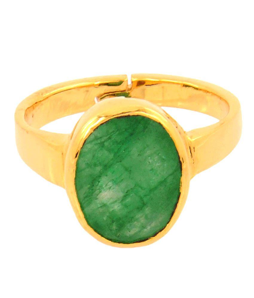 Barishh Adjustable 725 Ratti Panna Vedic Astrology Ring