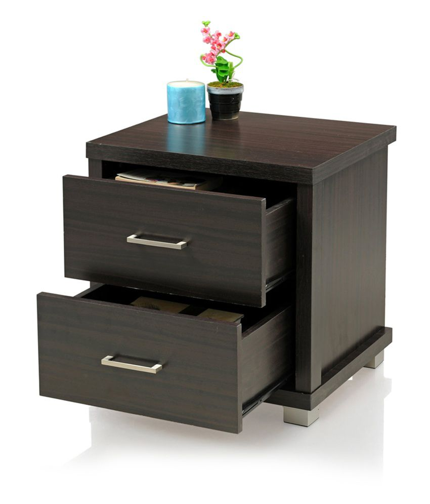 Royaloak Berlin Bedside Table With 2 Drawers And Dark Finish
