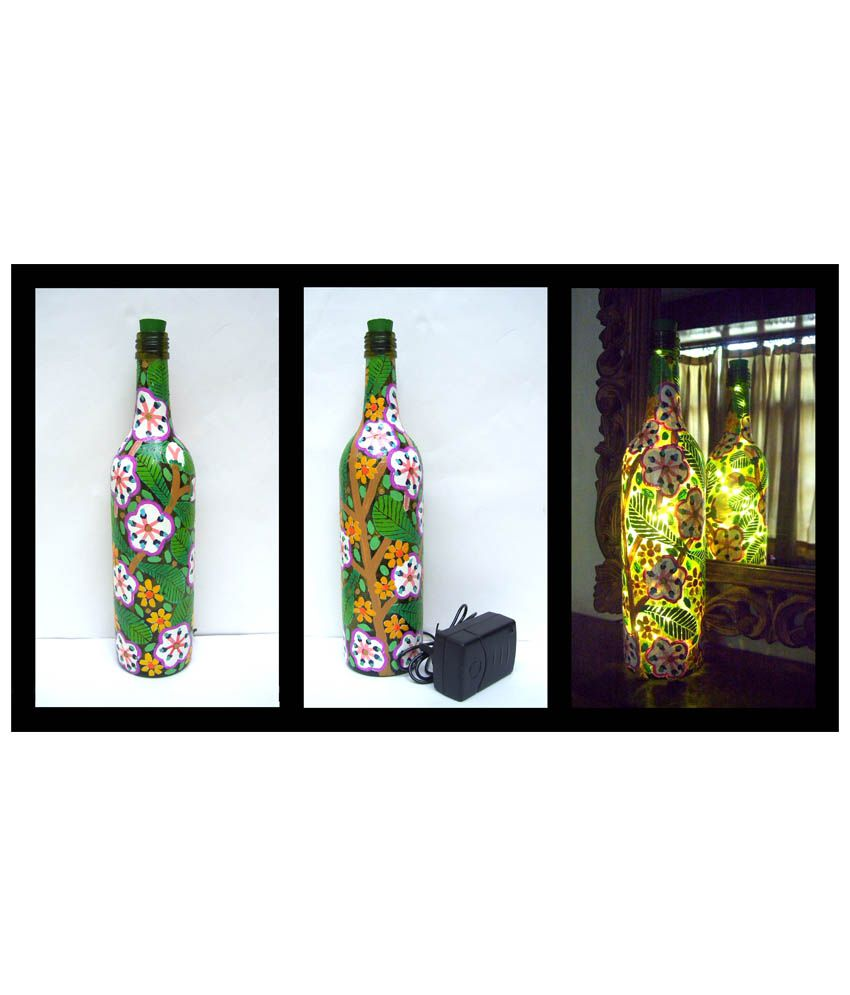 Bottles not empty branches with flowers glass hand painted for Flowers in glass bottles