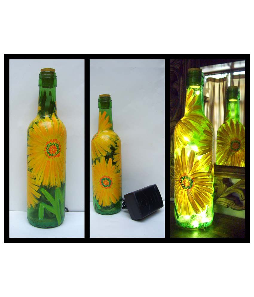 Bottles Not Empty Flowers Small Yellow Glass Hand Painted Glass Bottle W Led Light Buy Bottles Not Empty Flowers Small Yellow Glass Hand Painted Glass Bottle W Led Light At Best Price In India