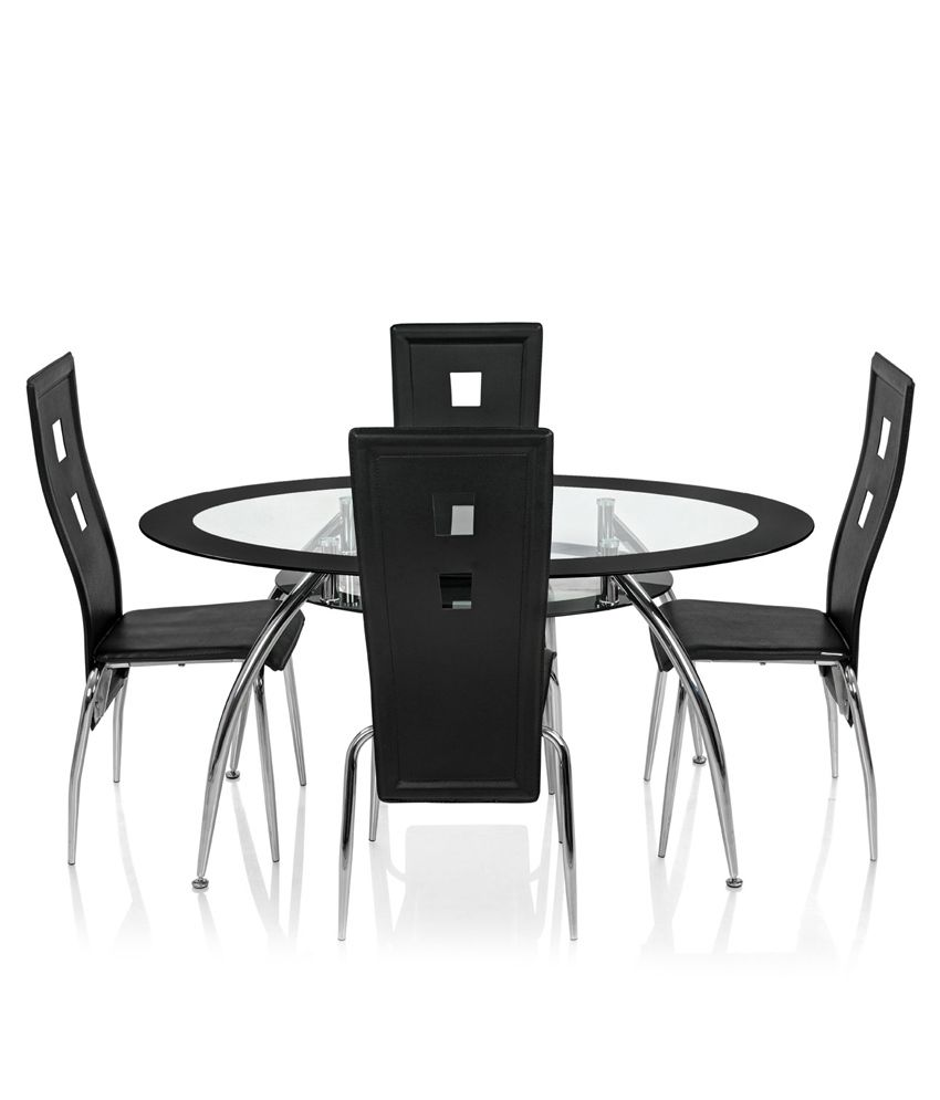 Sale Glass Top Wooden Dining Table Royaloak Roger Dining Set With 4 Chairs  OvalGlass Dining Table Buy Online India Themoatgroupcriterion Us