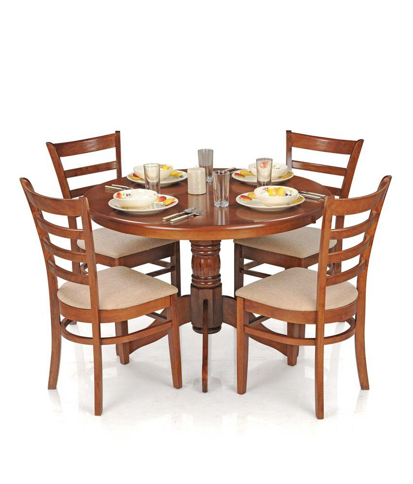 Royaloak dining table set with 4 chairs solid wood for Dinner table set for 4