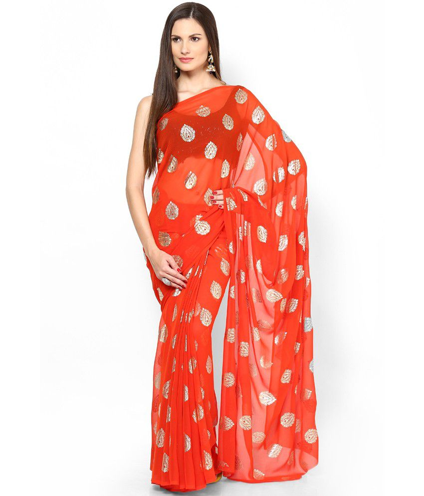 342a31f46a Rajasthani Sarees Red and Orange Chiffon Saree - Buy Rajasthani Sarees Red  and Orange Chiffon Saree Online at Low Price - Snapdeal.com