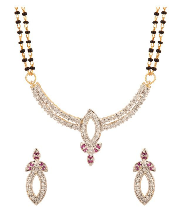 Voylla Mangalsutra Set Featuring Double Chains With Red Colored Stones