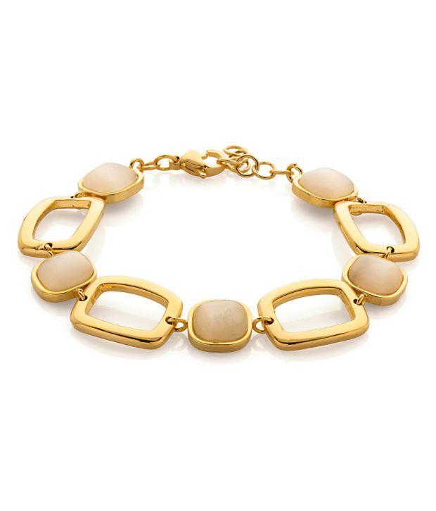 Voylla Mens Bracelet Studded With Beige Stones
