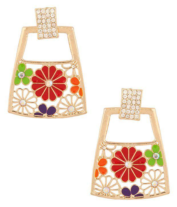 Voylla Pair Of Earrings With CZ Stones And Enamel Work