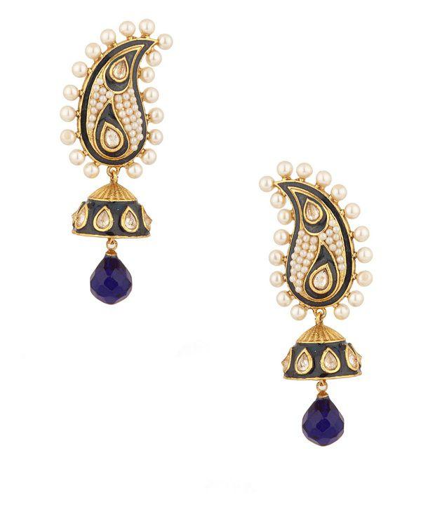Voylla Traditional Jhumki Earrings With Blue Enamel Work