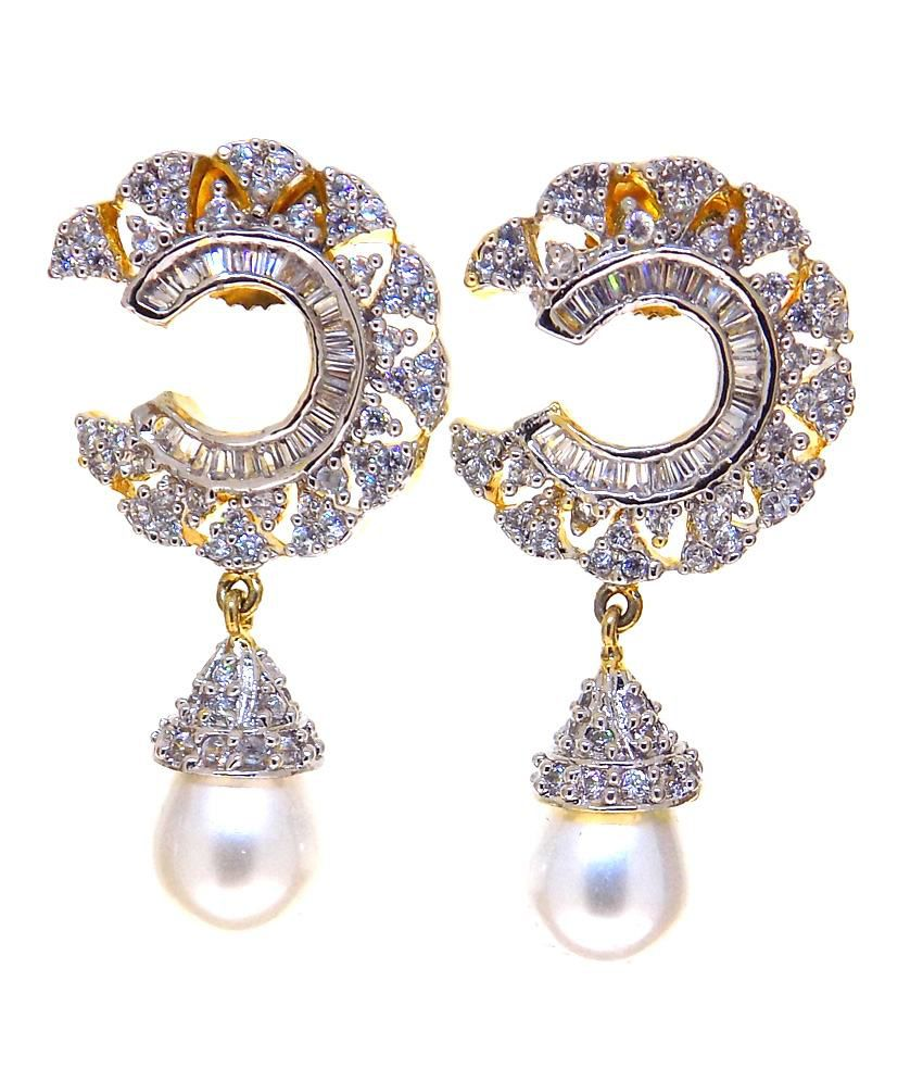 Aabhushan Jewels American Diamond Gold Plated Pearl Look Earrings For Women