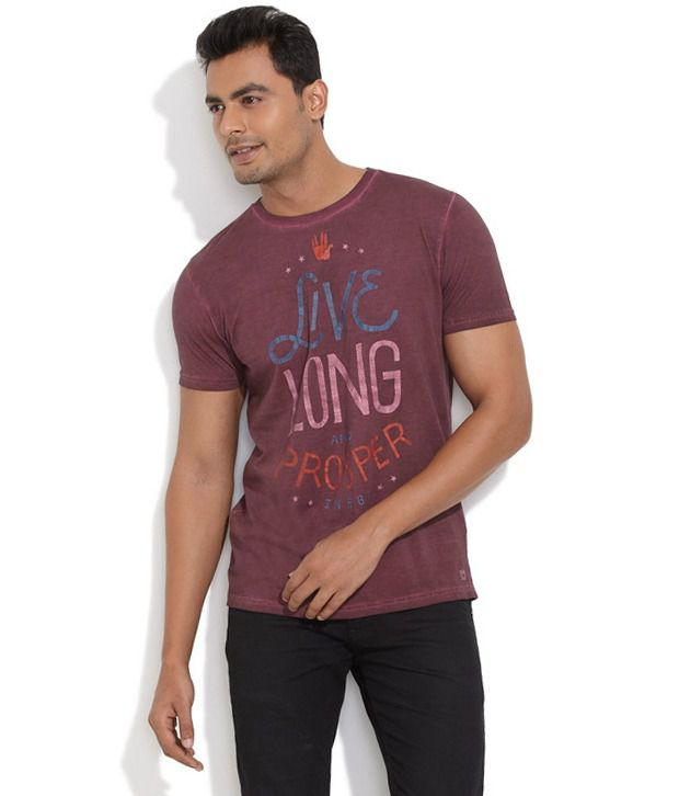 Inego Brown Cotton Blend T-shirt