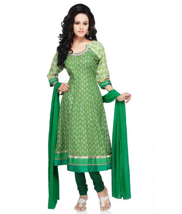 Utsav Fashion Green Cotton Embroidered  Dress Material