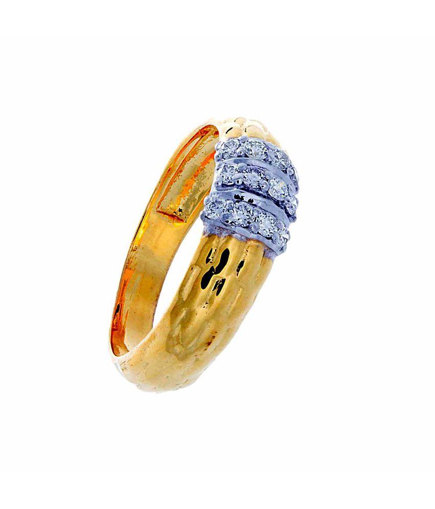 64facets 14kt Gold Plated Diamonds Designer Ring