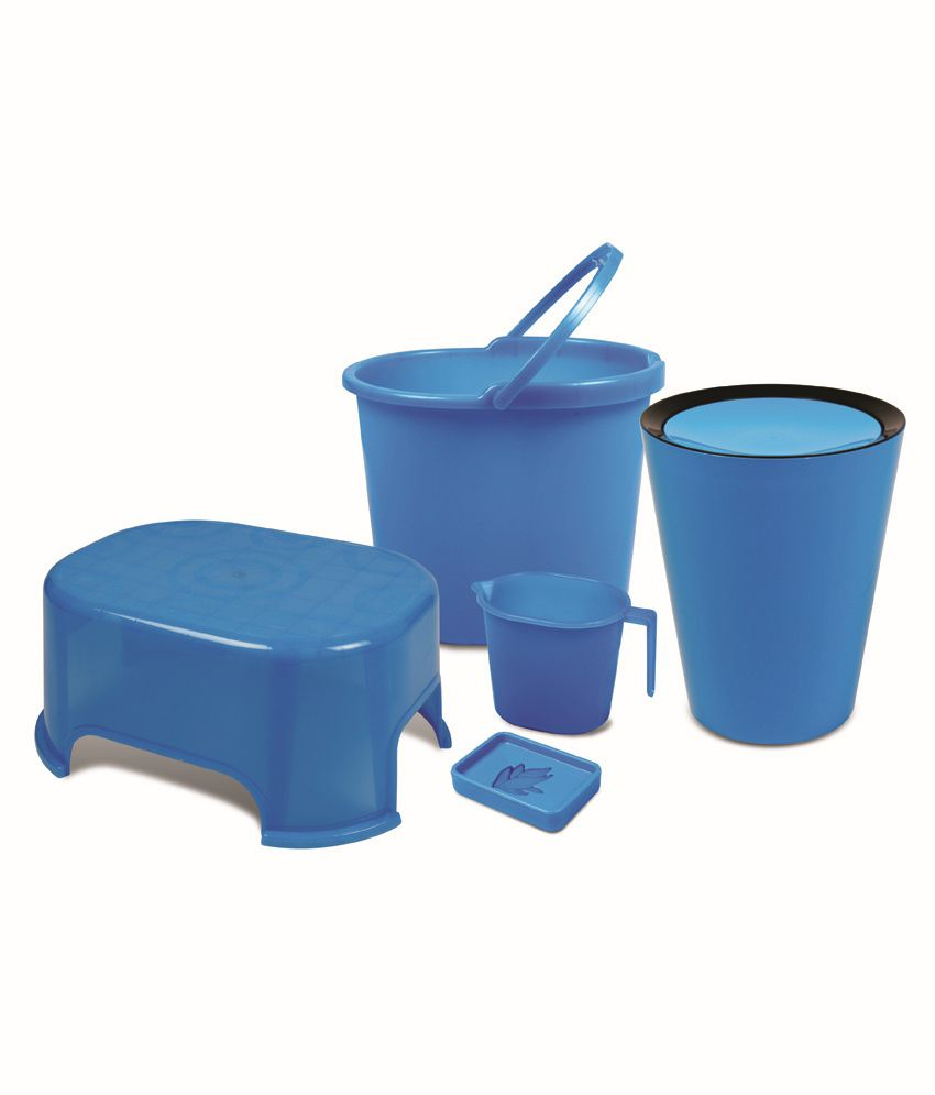 Plastic bathroom sets - Varmora Blue Virgin Plastic Bath Sets Set Of 5