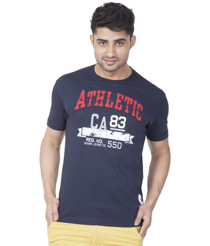 Ajc Printed Navy Half Cotton T-shirt
