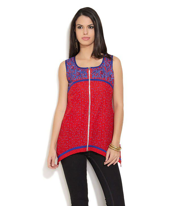 Lovely Lady Red Embroidered Polyester Kurti