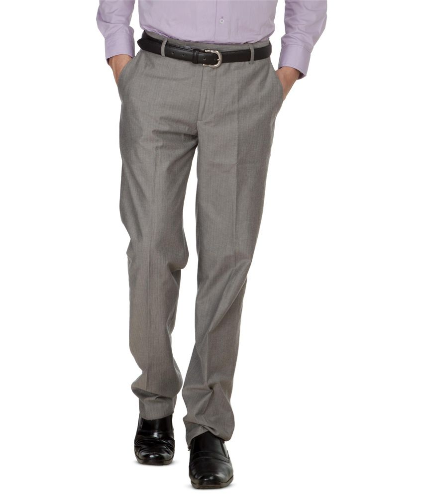 Zovi Light Grey Textured Formal Trousers