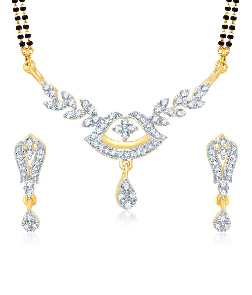 Vk Jewels Fancy Gold And Rhodium Plated Mangalsutra Pendant Set With Earrings