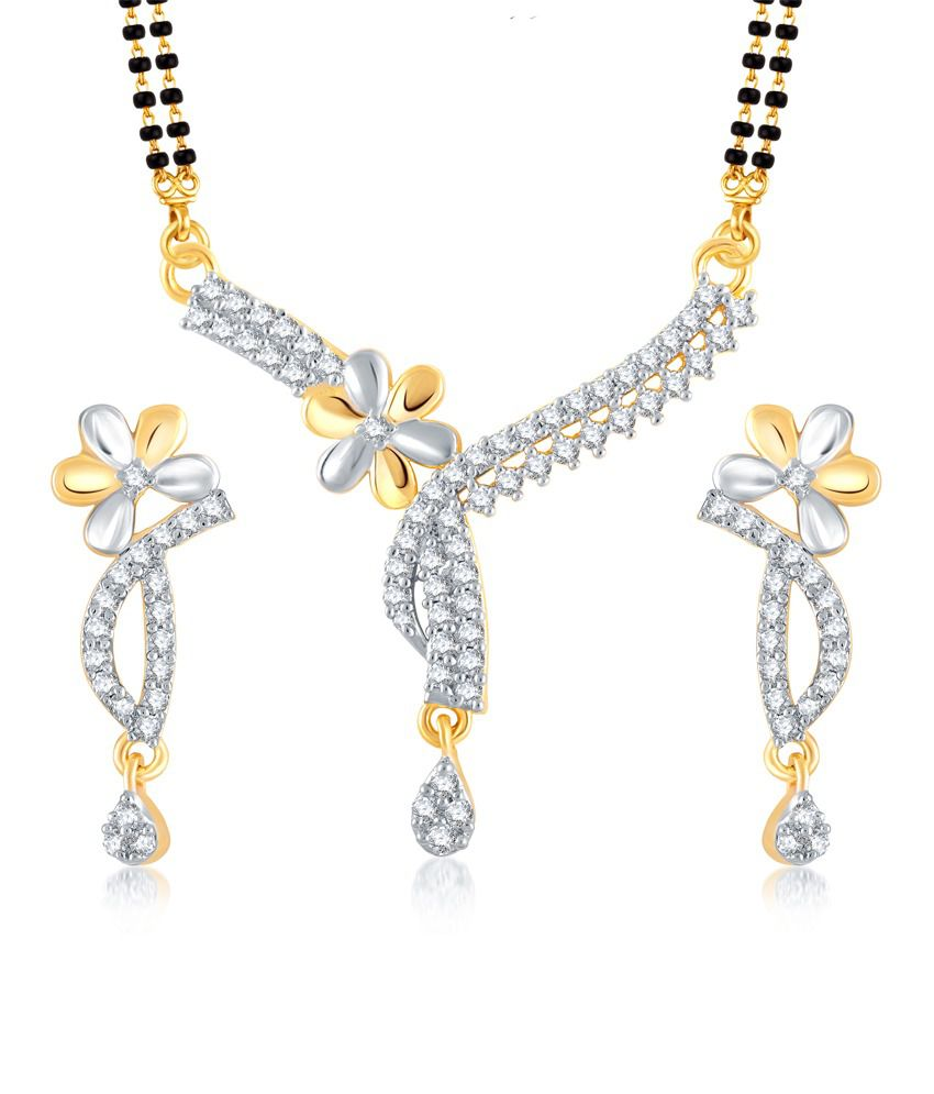 Vk Jewels Floral Gold And Rhodium Plated Mangalsutra Pendant Set With Earrings
