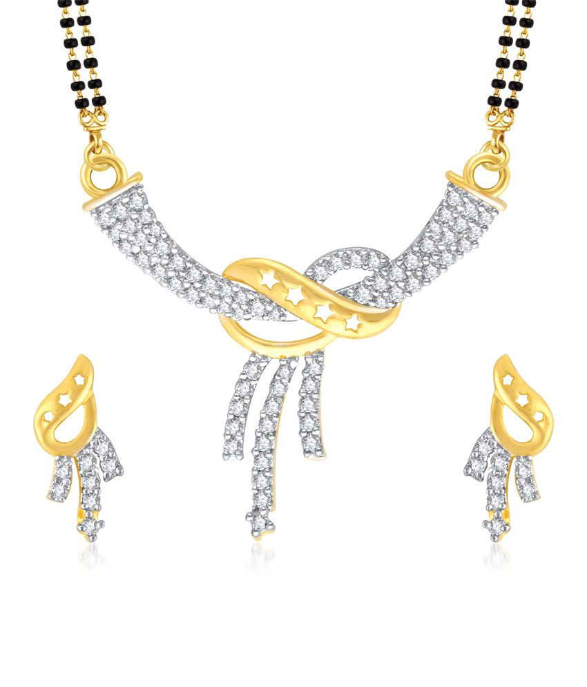 Vk Jewels Three Lines Gold And Rhodium Plated Mangalsutra Pendant Set With Earrings