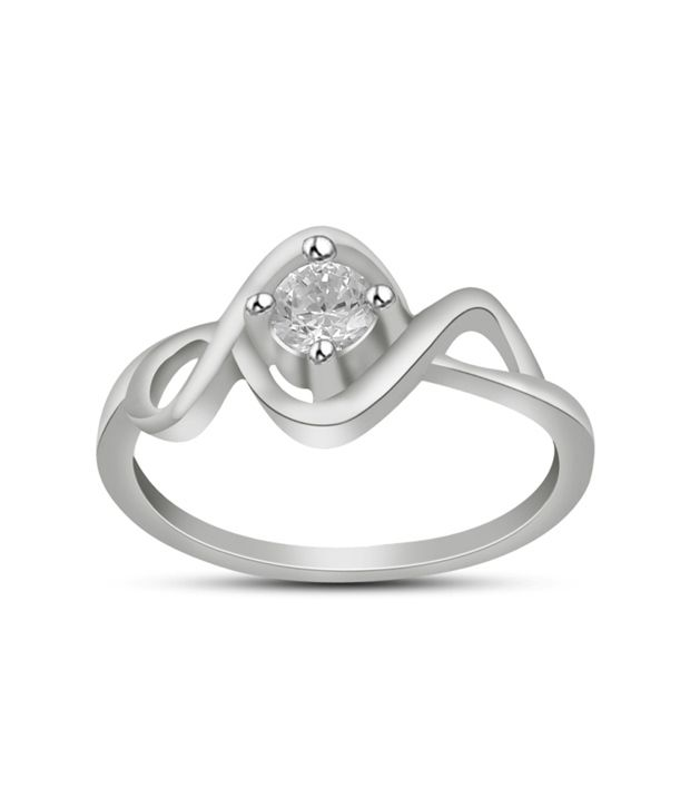 Ciemme 92.5 Sterling Silver 0.50 Ct Solitaire Cz Diamond Studded Ring With Gift Box