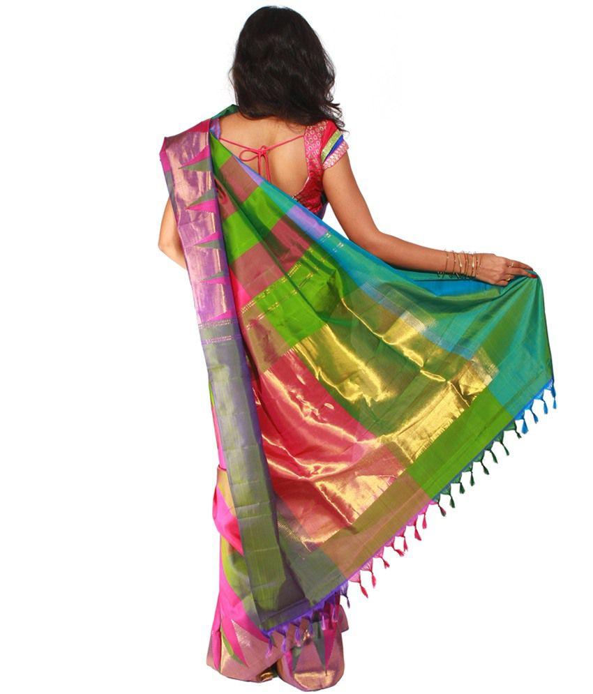 89fa452781 Uppada Multi Color Silk Saree - Buy Uppada Multi Color Silk Saree ...