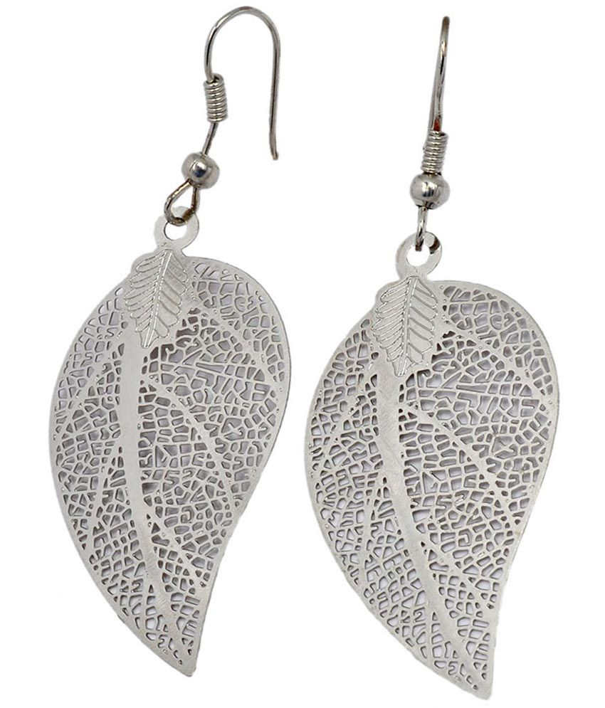 Maayra Contemporary Silver Fish Hook Dangler Earrings