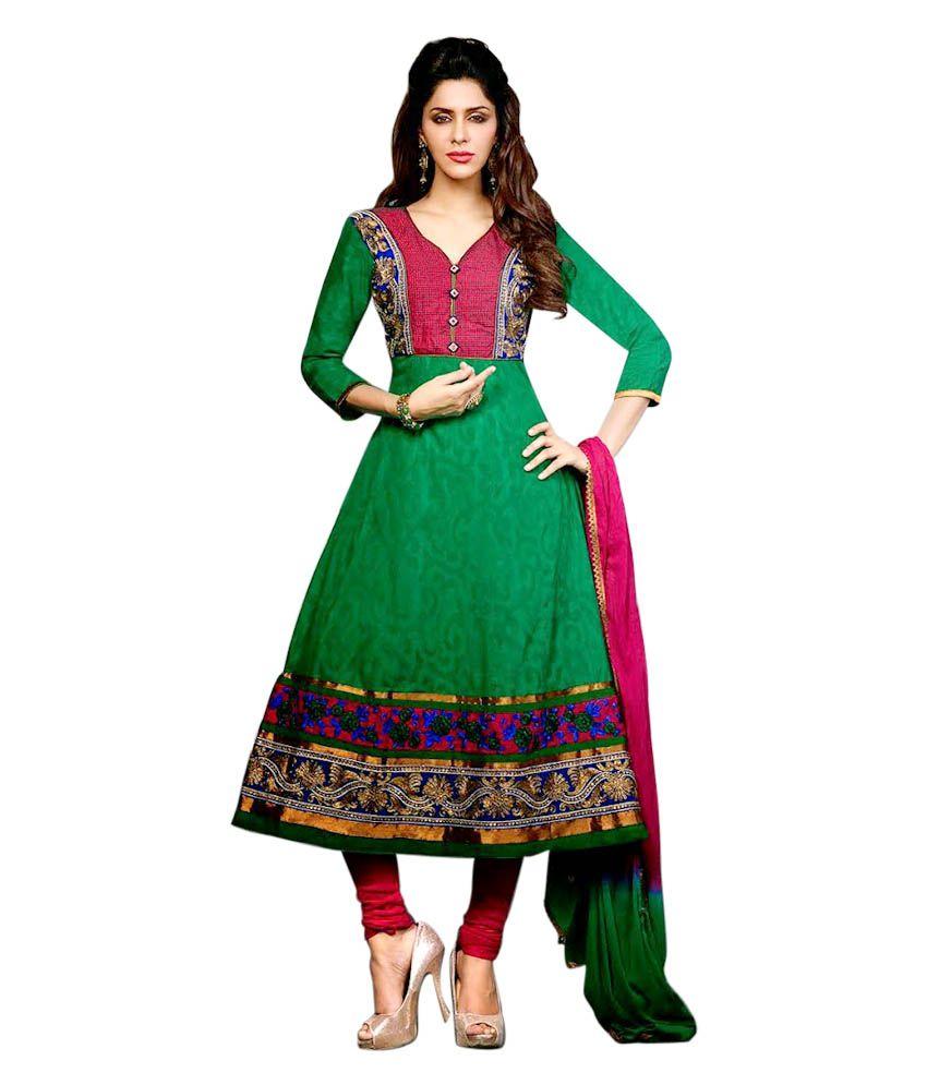Sahiba Sahiba Fashionable Designer Wear Dress Materials Collection (Green)