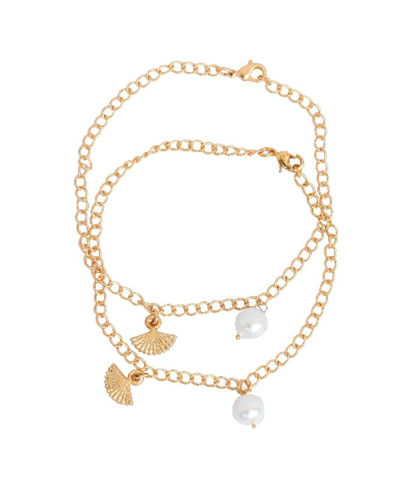 Touchstone Anklets Pair With Cute Pearl And Umbrella Drop