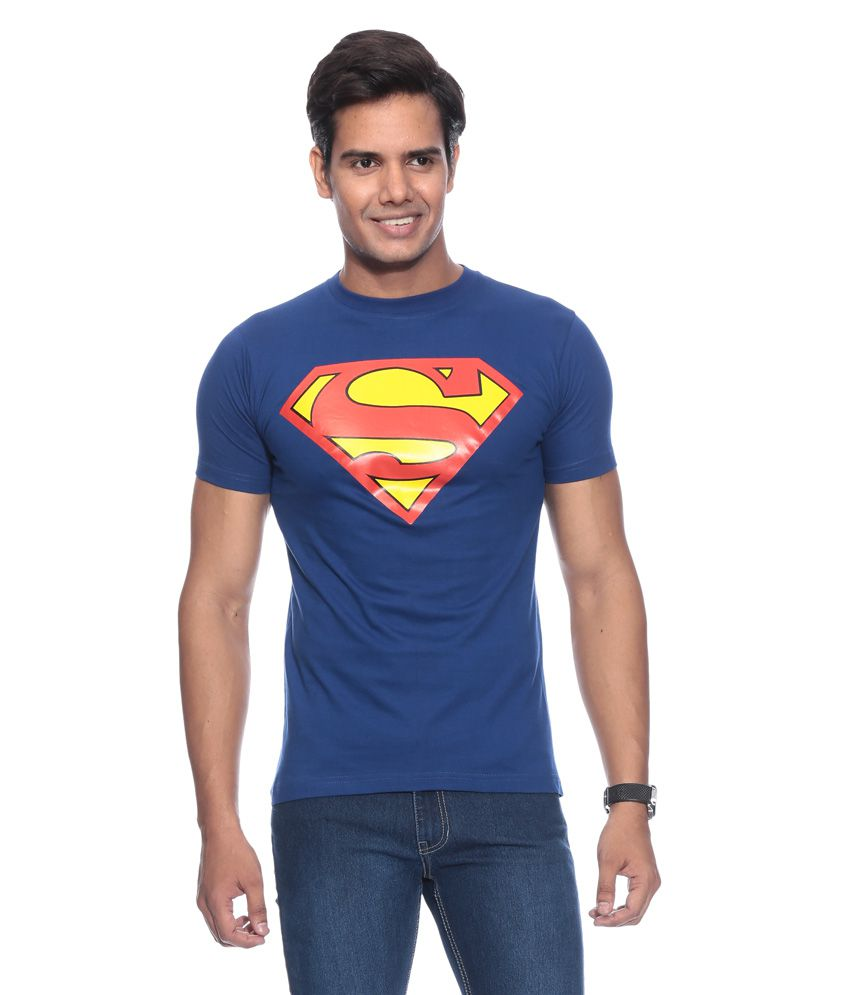 Fashion Enterprises Blue Cotton Blend T-shirt