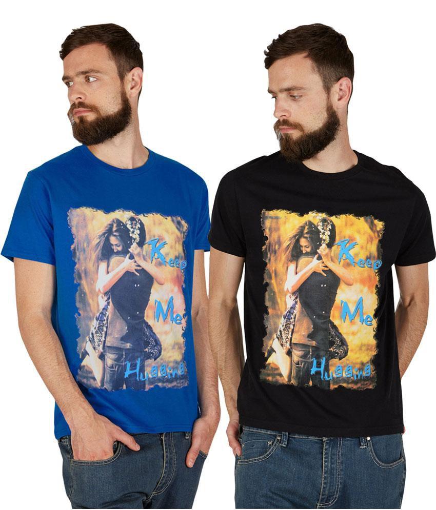 Pp Jeans Black & Blue T-shirt- 2 Pcs Pack