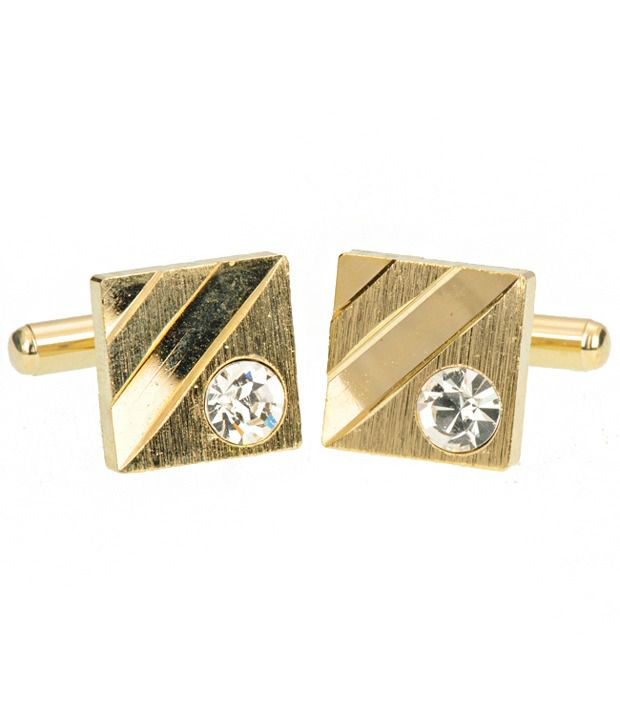 Stylish Classy Gold Cufflinks With High Quality Crystal