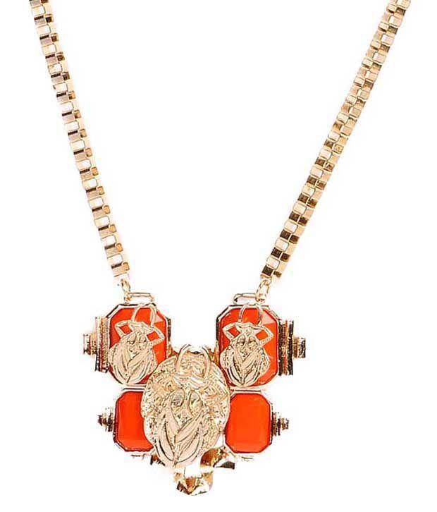 Cinderella Fashion Jewelry  Contemporary Orange & Golden Statement