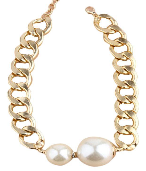 Cinderella Fashion Jewelry  White & Gold Pearl Neckpiece