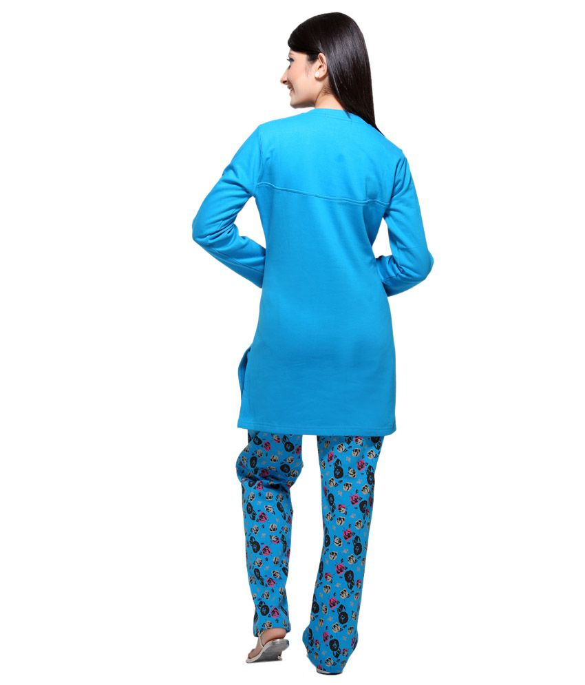 35d8571305 Buy D_ove Blue Cotton Nightsuit Sets Online at Best Prices in India ...